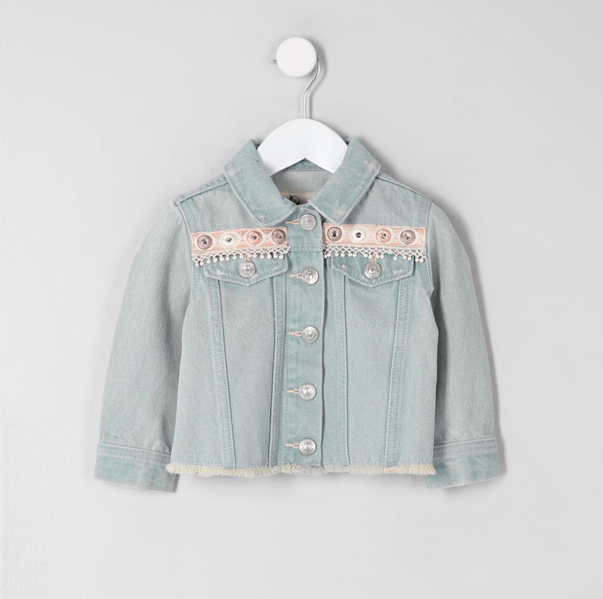 Mini girls blue embroidery denim jacket