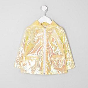 Mini girls yellow iridescent raincoat