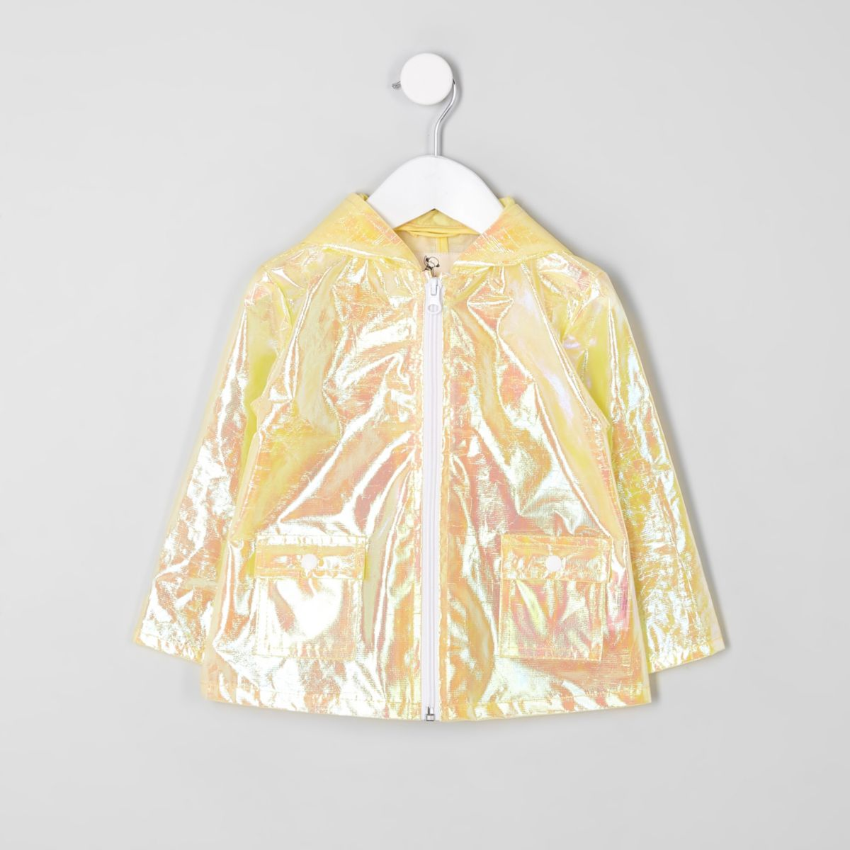 Mini girls yellow iridescent raincoat