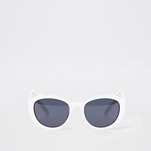 Mini girls white cat ear sunglasses