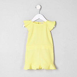 Combi-short jaune à manches à volants mini fille
