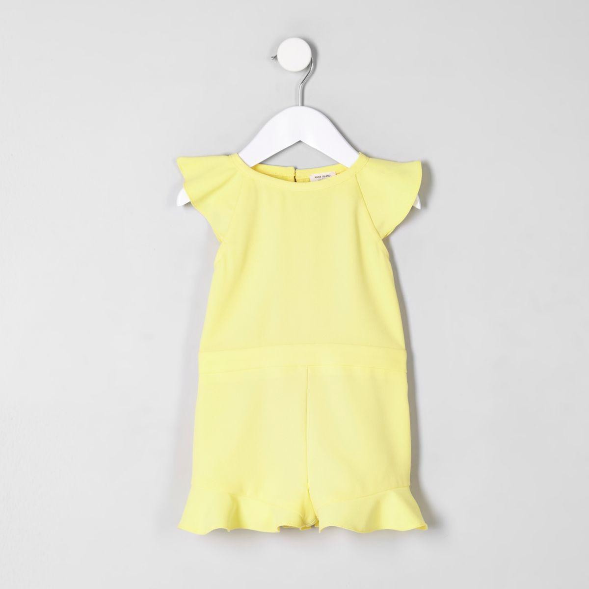 Mini girls yellow frill sleeve romper