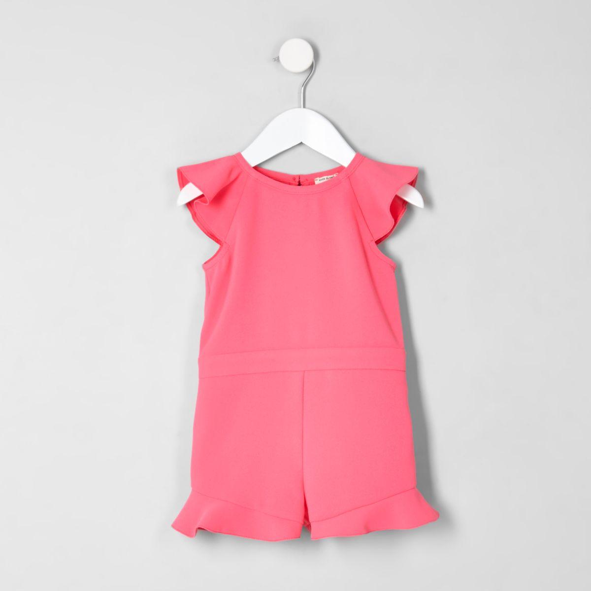 Mini girls pink frill sleeve romper