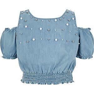 Top en denim bleu orné de perles à épaules dénudées pour fille