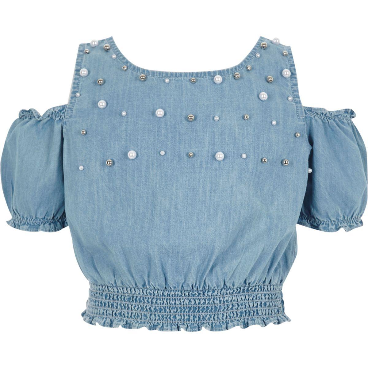 Girls blue pearl cold shoulder denim top