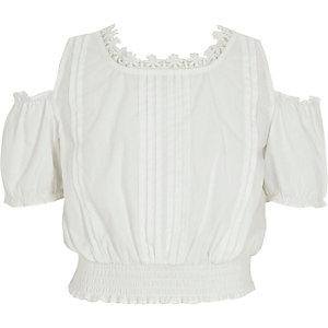 Crop top blanc à bordure fleurie pour fille