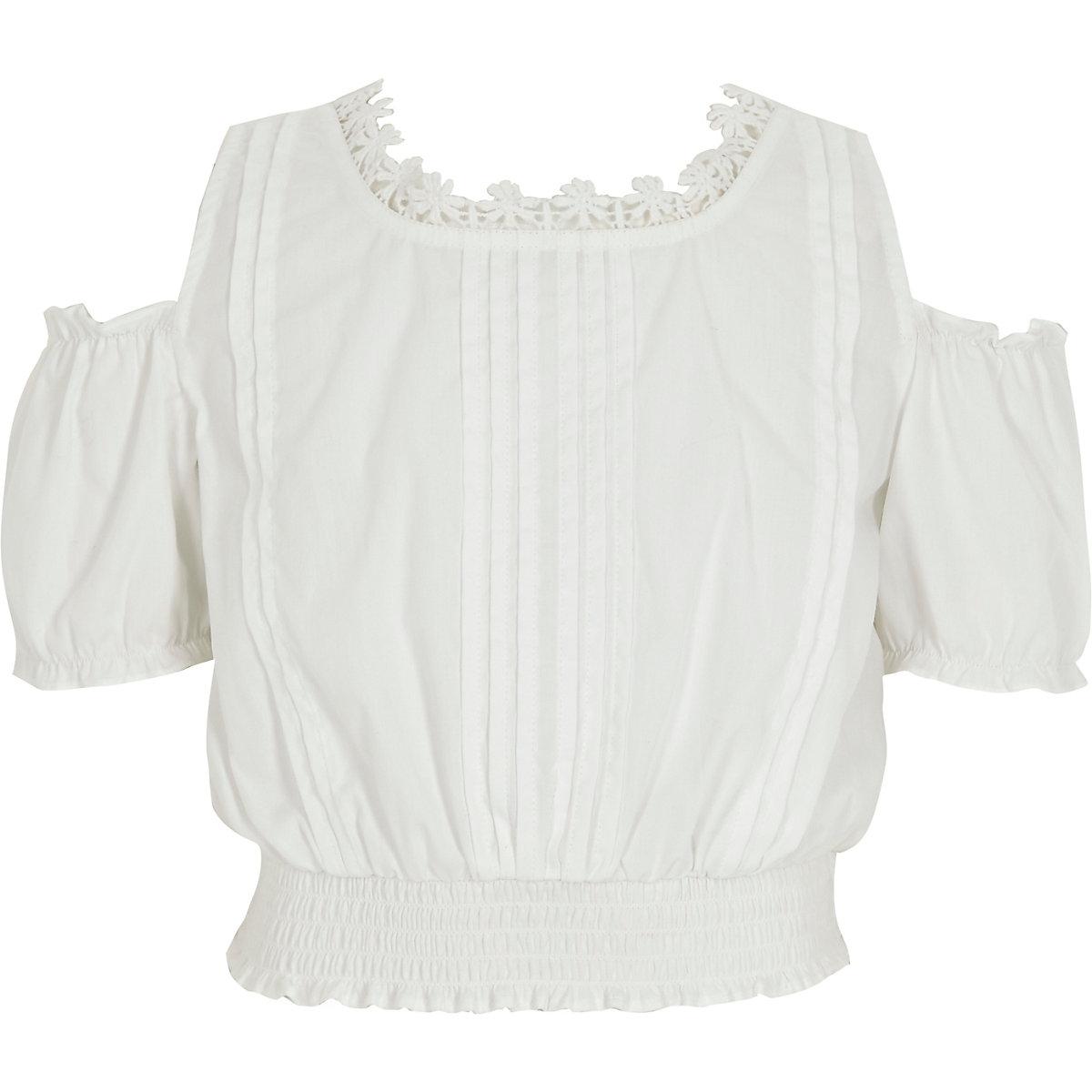 Girls white floral trim crop top