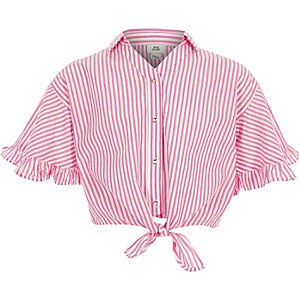 Girls pink stripe tie front shirt
