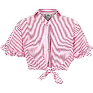 Girls pink stripe tie front shirt