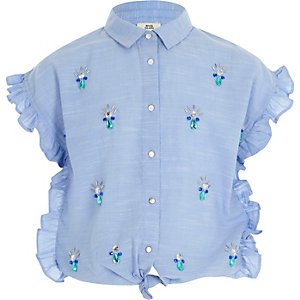 Girls blue frill tie front embellished shirt