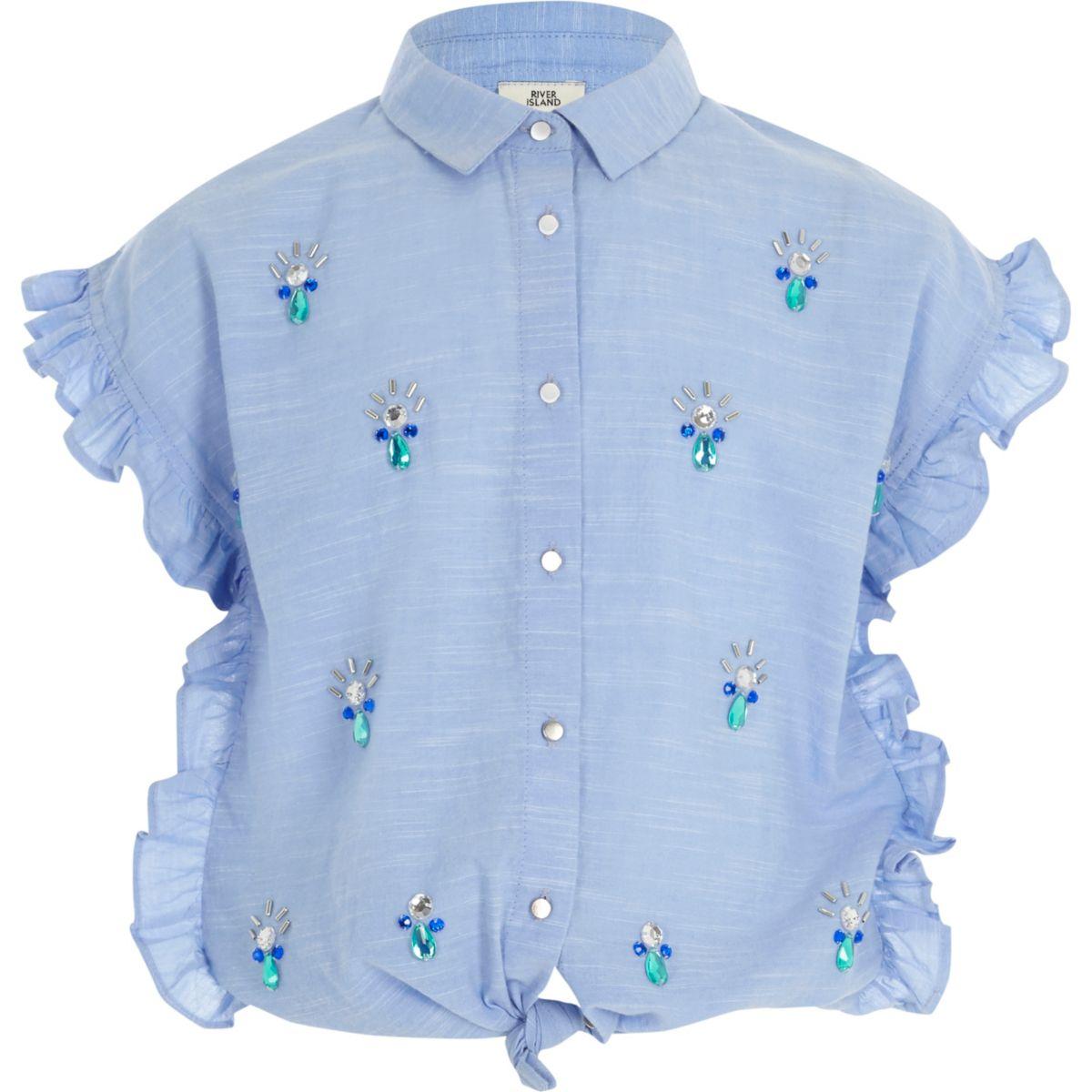 Blaues Hemd mit Rüschen
