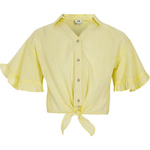 Girls yellow stripe tie front crop shirt