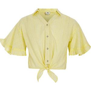 Chemise courte rayée jaune nouée sur le devant pour fille