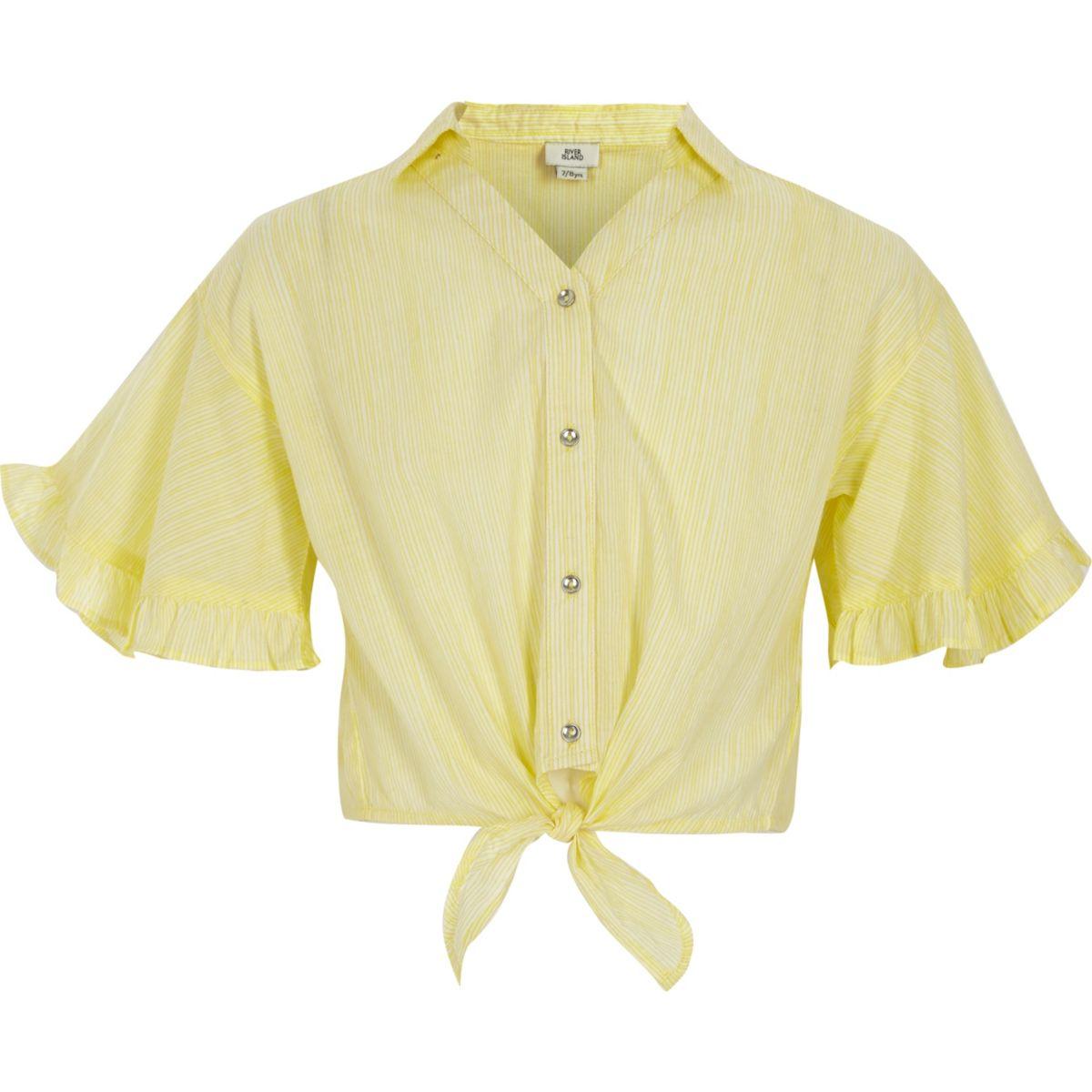 Girls yellow stripe tie front crop shirt
