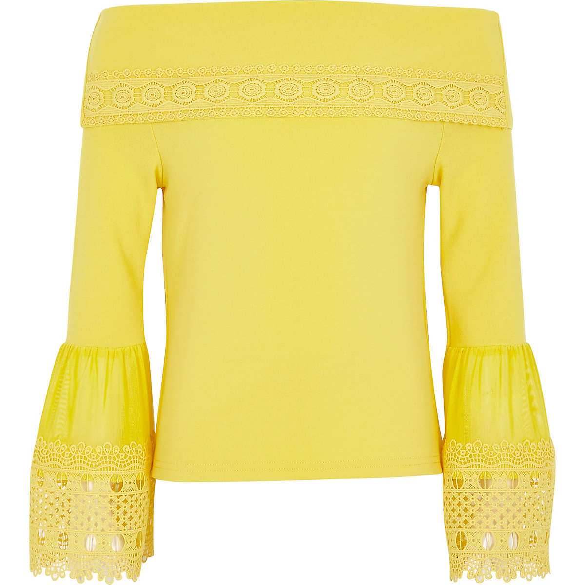 Girls yellow lace trim bell sleeve bardot top