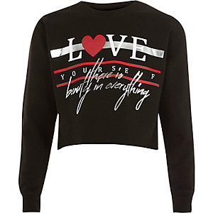 Girls black 'love' foil print sweatshirt