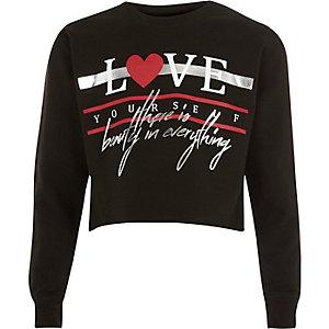 Sweat à imprimé « Love » métallisé noir pour fille