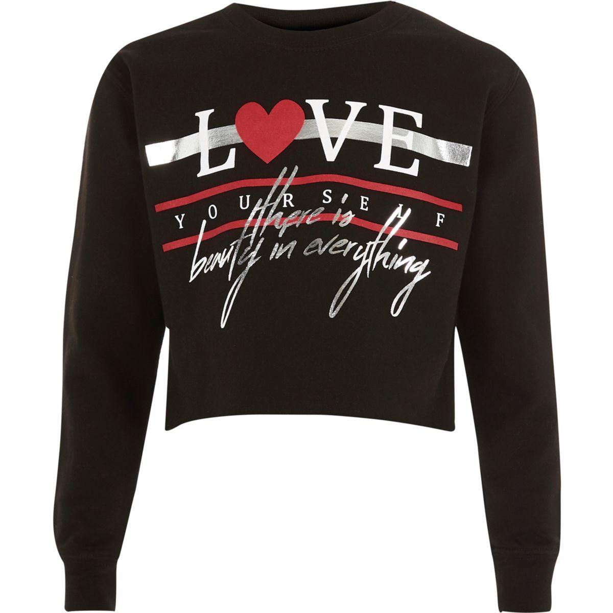 Girls black 'love' foil print sweatshirt