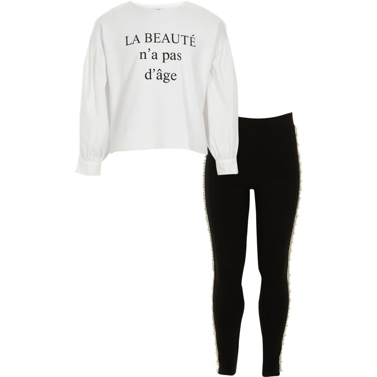 Girls white 'beaute' top and leggings outfit