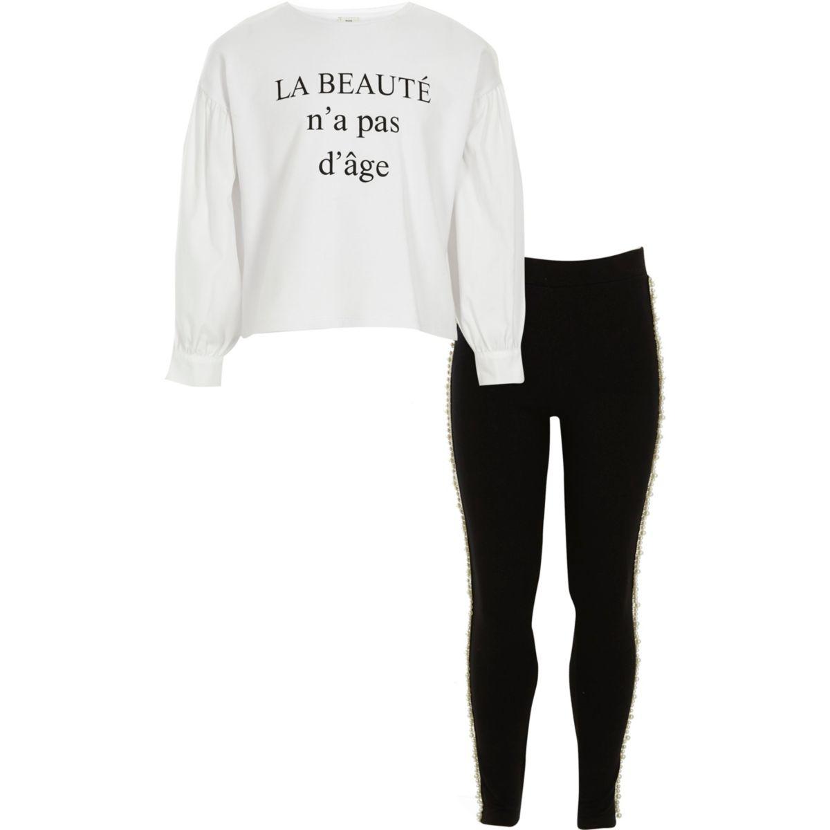 Ensemble legging et haut «beauté» blanc pour fille