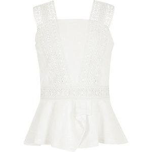 Girls white lace trim peplum top