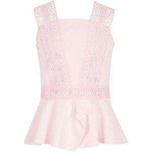 Girls pink lace trim peplum top