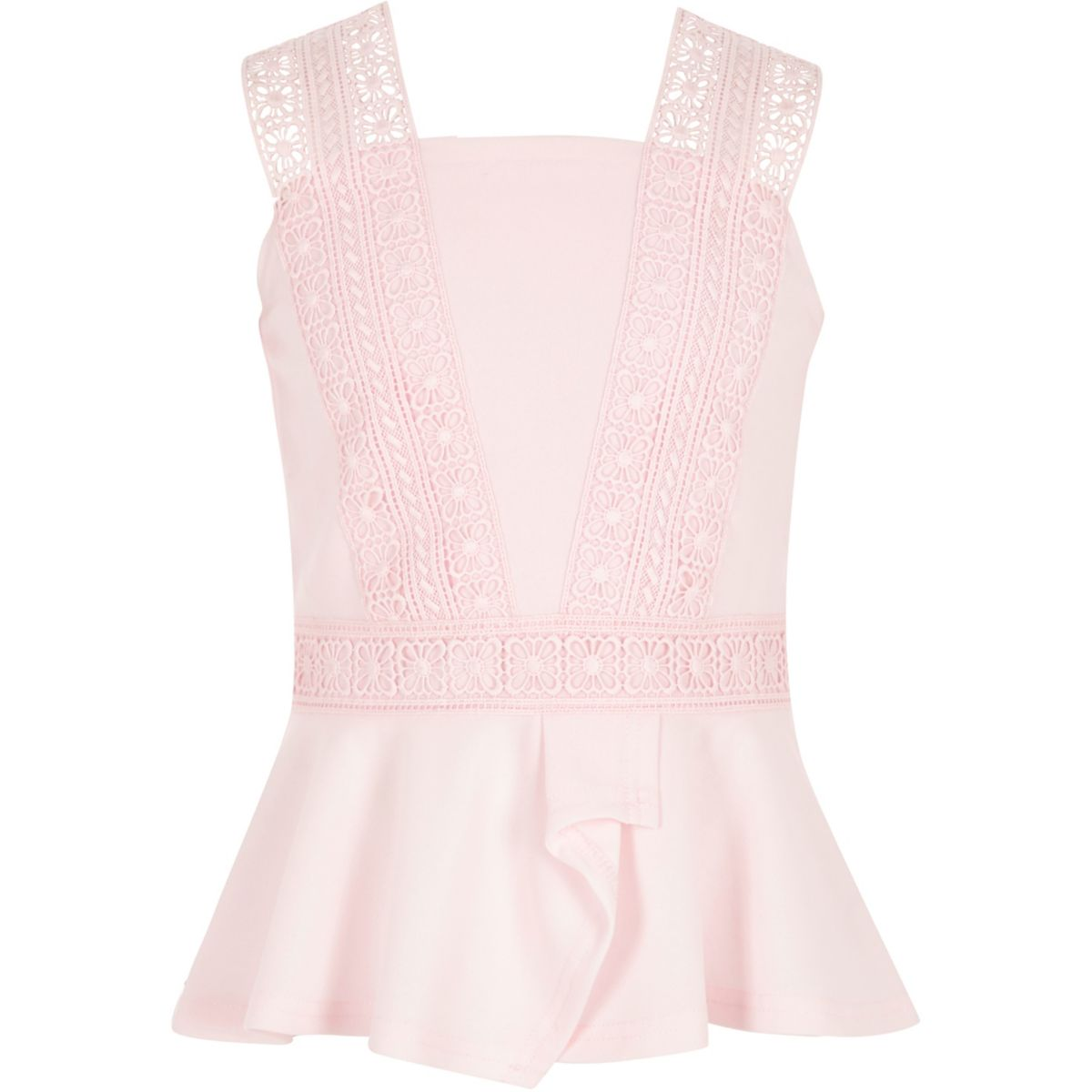 Girls pink lace trim peplum top