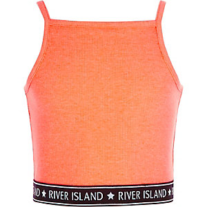 RI – Crop top caraco orange côtelé avec ourlet à logo pour fille