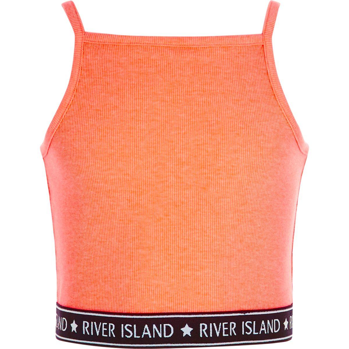 Girls orange rib RI hem cami crop top