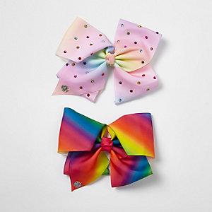 JoJo Bows – Lot de nœuds arc-en-ciel multicolores pour fille