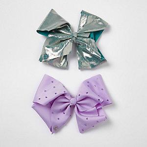 JoJo - Set met blauwgroene en paarse strik voor meisjes