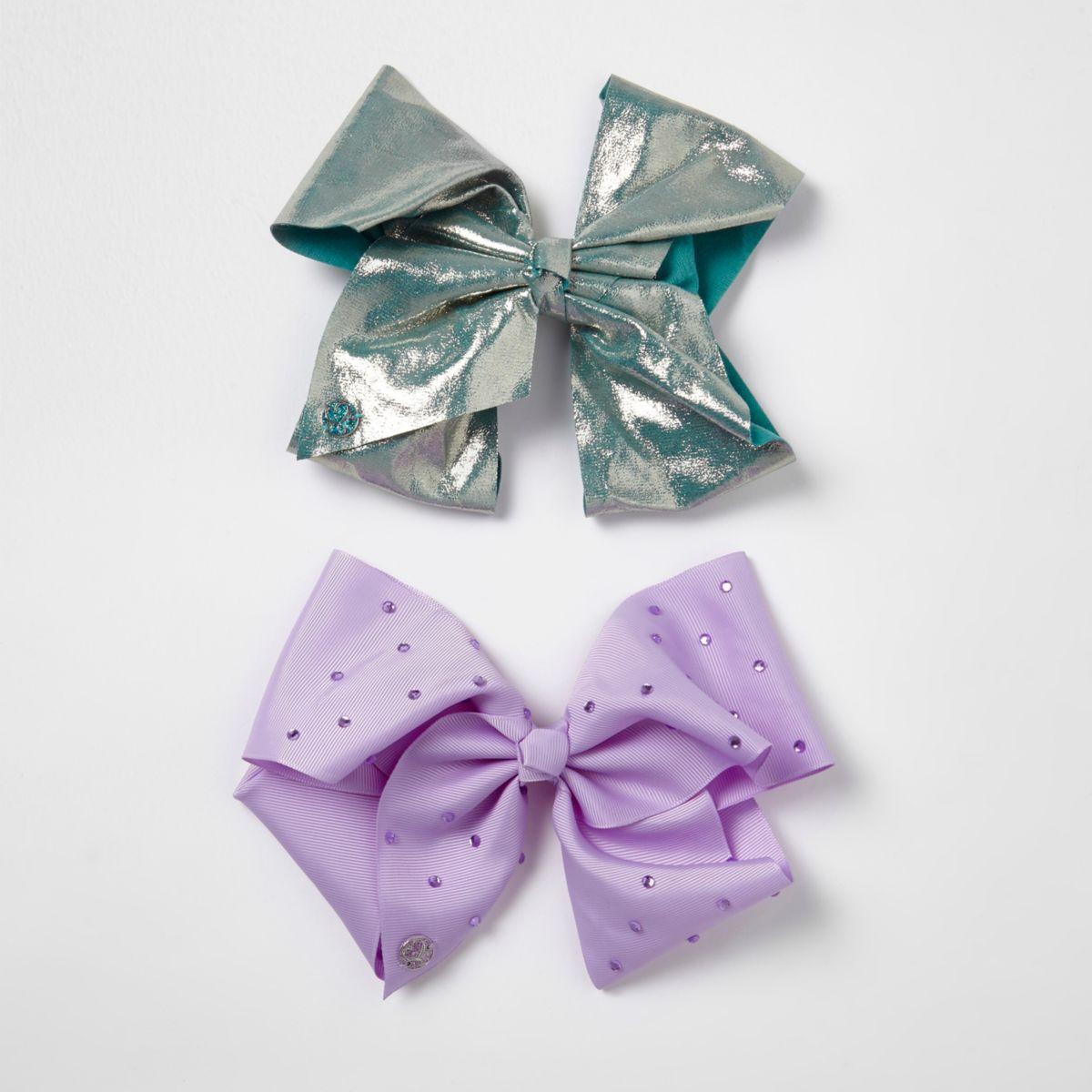 JoJo Bows – Lot de nœuds bleu canard et violet pour fille