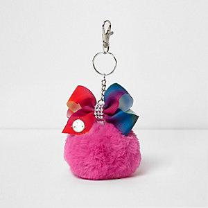 Girls pink JoJo Bows pom pom keyring