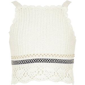 Girls white crochet crop top