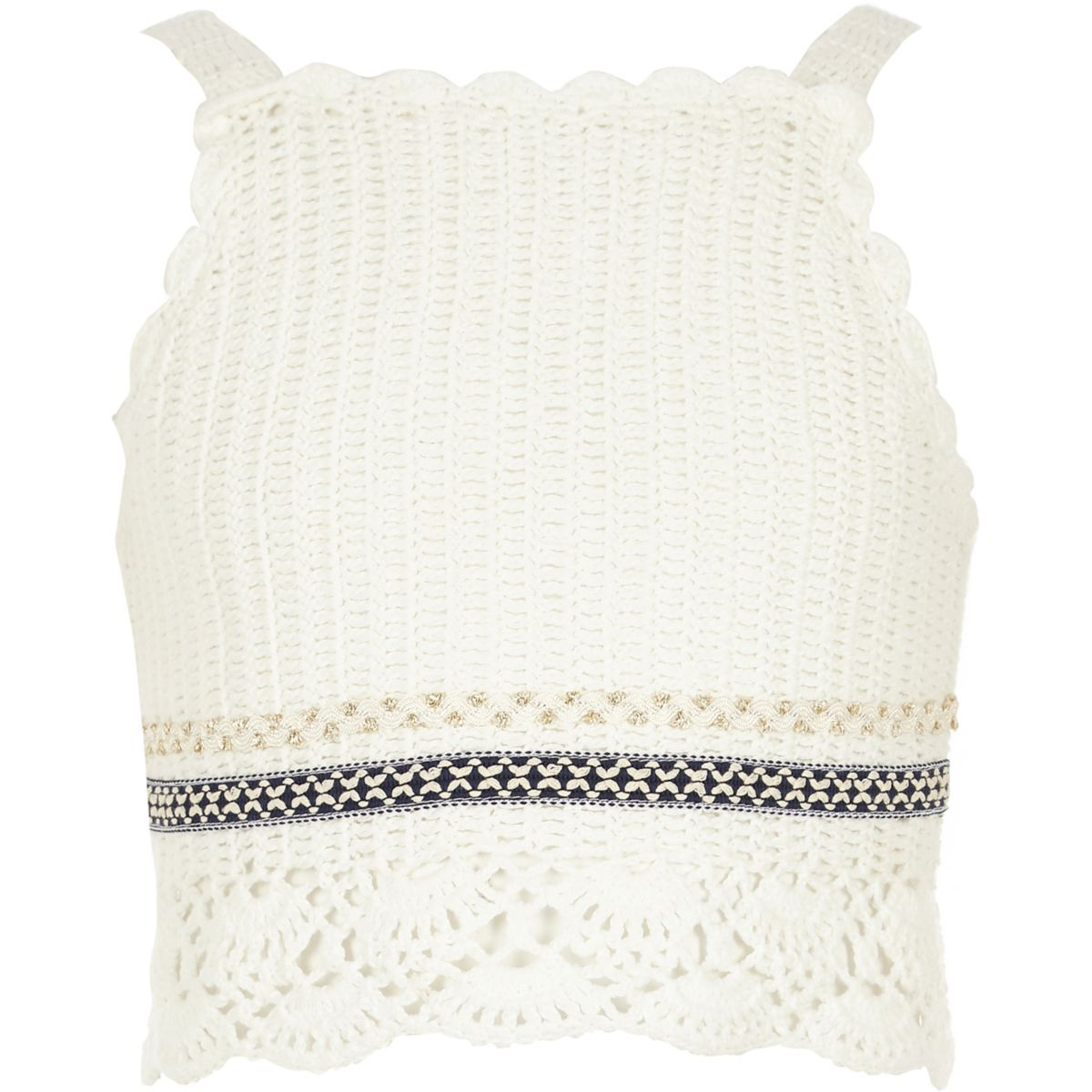 Girls white crochet crop top