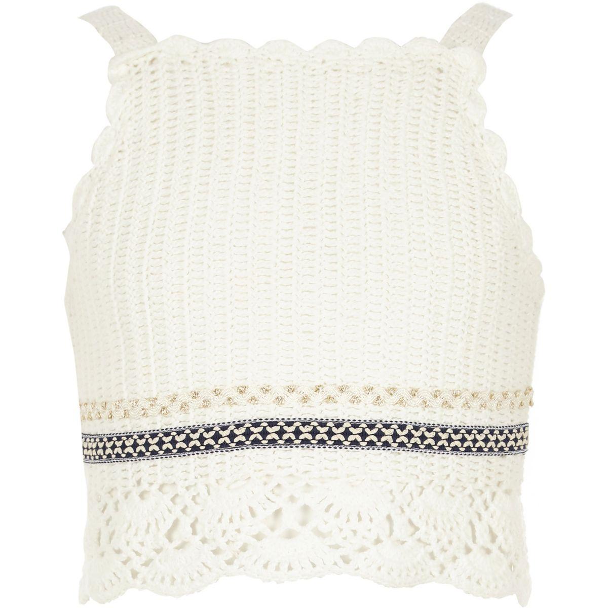 Crop top blanc au crochet pour fille