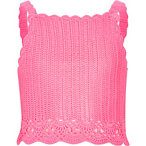 Girls pink crochet cami crop top