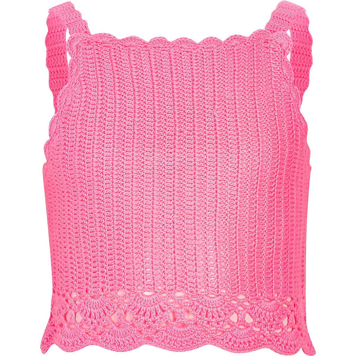 Girls pink crochet cami crop top