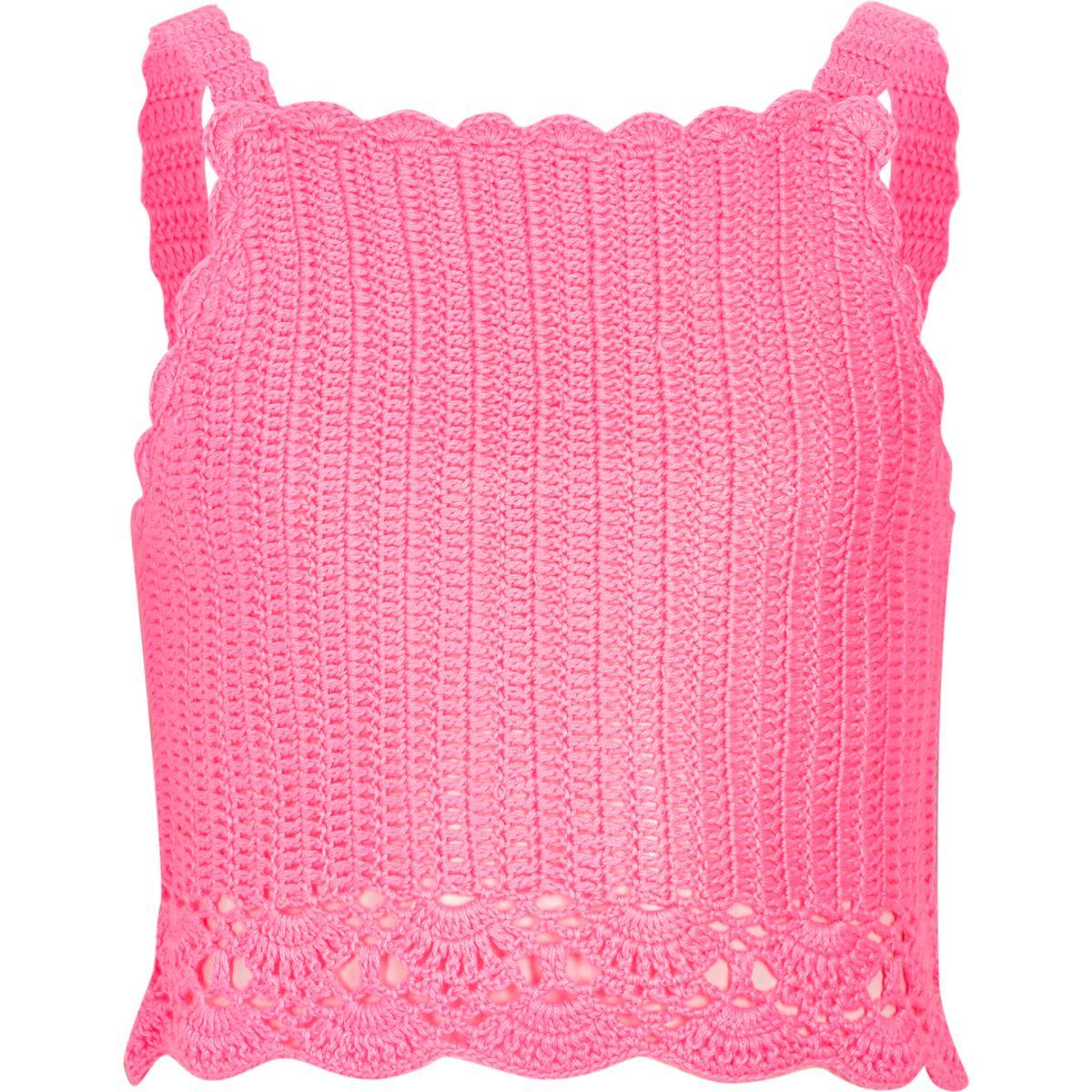 Crop top rose au crochet à fines bretelles pour fille
