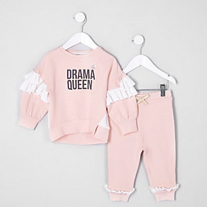 Mini - Outfit met roze sweatshirt met 'drama'-print voor meisjes