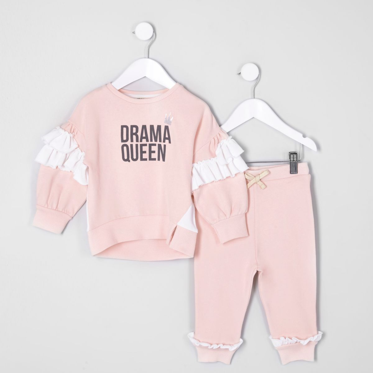 Mini girls pink 'drama' sweatshirt outfit
