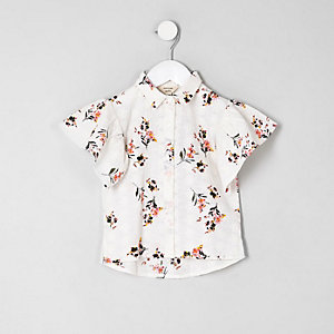 Mini girls cream floral broderie shirt