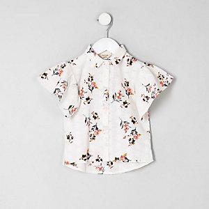 Mini - Crème gebloemd overhemd met broderie voor meisjes
