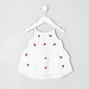 Top motif cerise blanc à volants mini fille