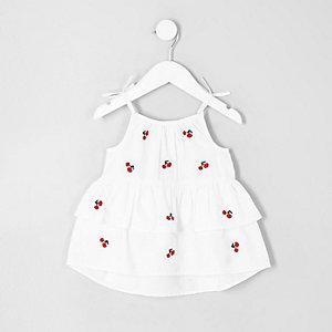 Mini - Witte gelaagde top met kersenprint voor meisjes