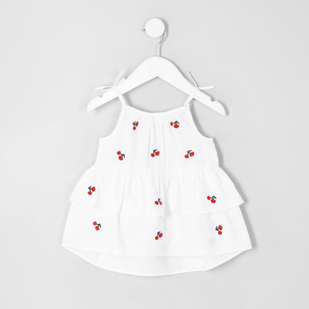 Mini girls white cherry tiered top