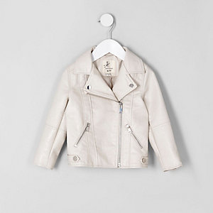 Mini girls cream faux leather biker jacket
