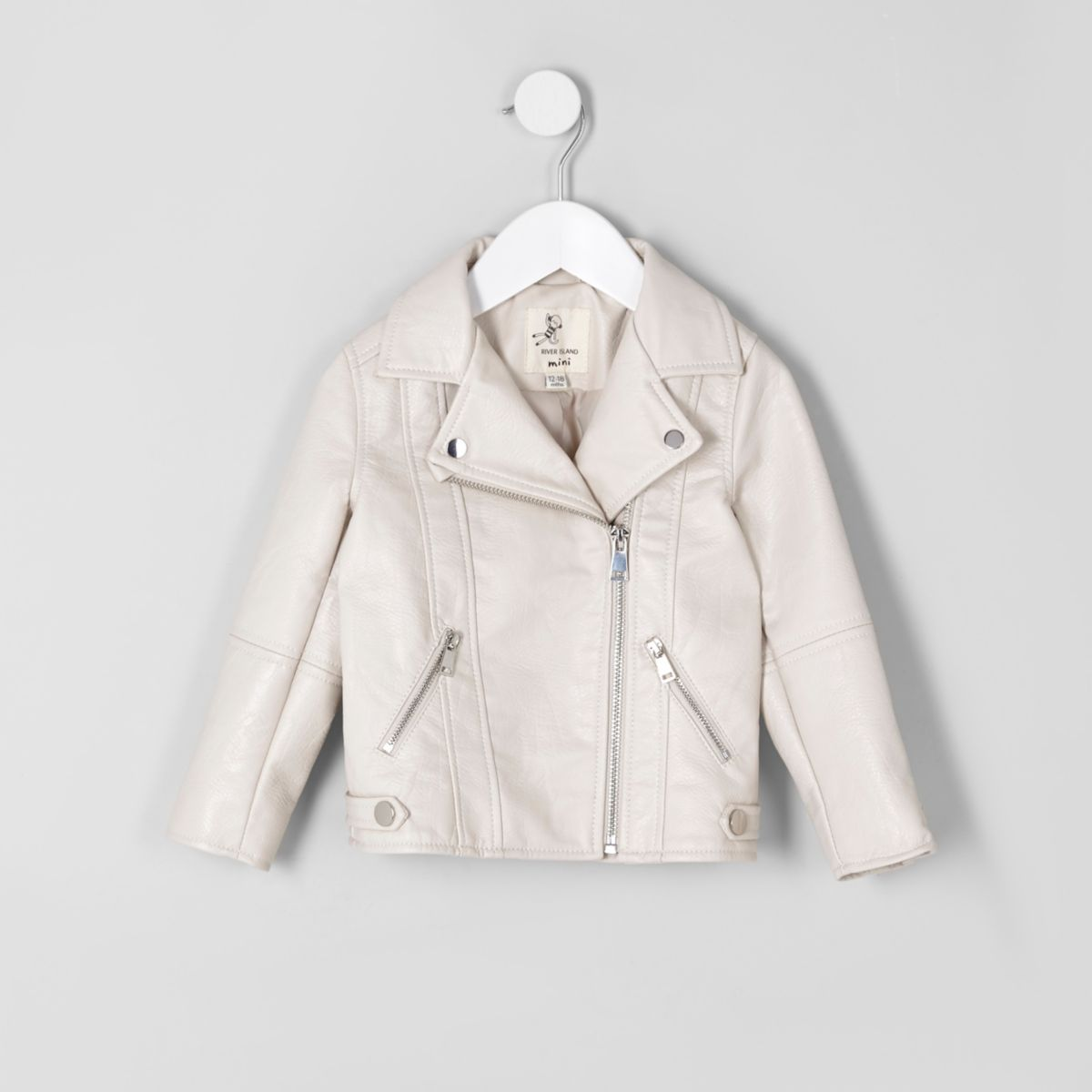 Mini girls cream faux leather biker jacket