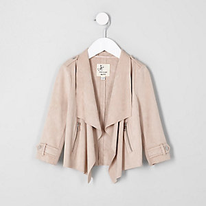 Mini girls cream faux suede waterfall jacket