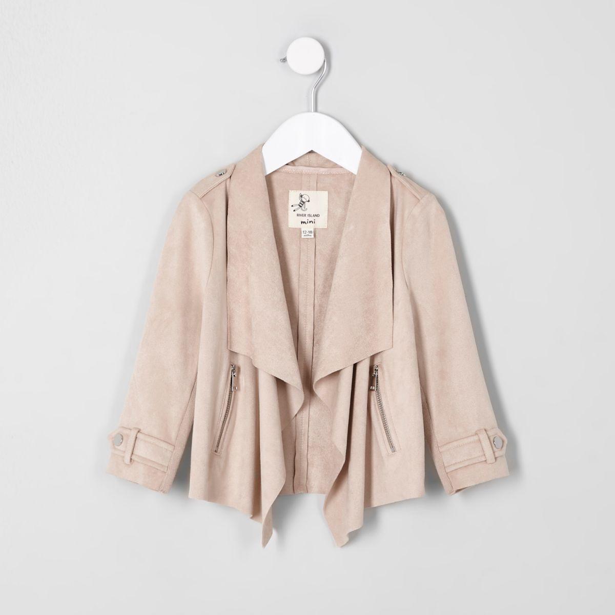 Mini girls cream faux suede waterfall jacket